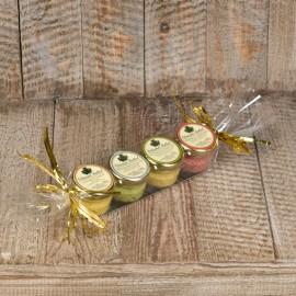 4 petits pots de Moutardes Portions : Estragon, Poivre Vert, Cassis de Dijon, Moutarde de Dijon nature